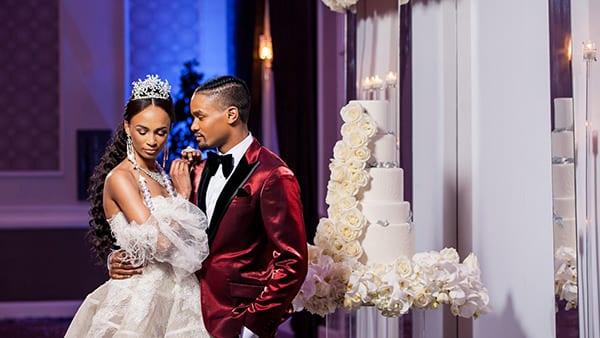 Drexelbrook Styled Shoot Couple posing with Wedding Cake