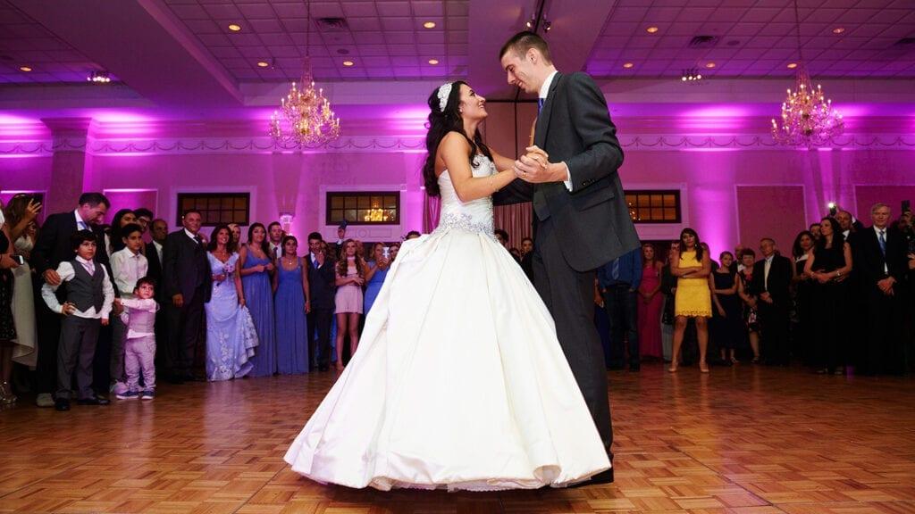 Jewish Wedding Drexelbrook Dancing Couple with crowd behind