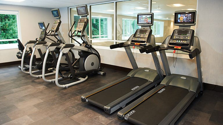 Exercise equipment in fitness center at the Holiday Inn & Suites.