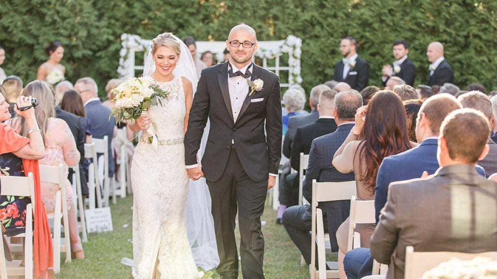 Franklin Commons Outdoor Wedding Aisle by Drexelbrook Catering