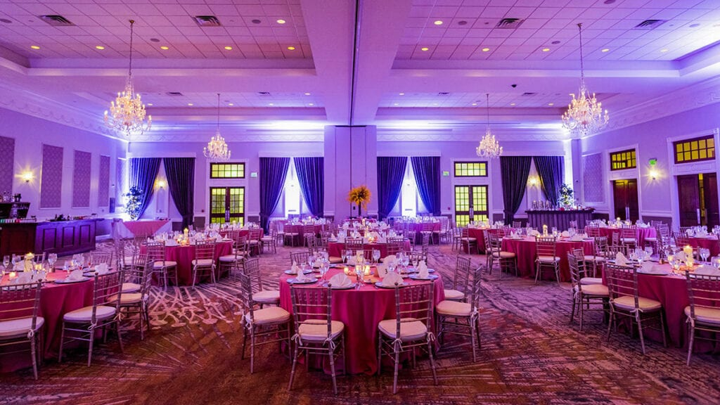 Drexelbrook Grand Ballroom with Round Tables and purple uplights