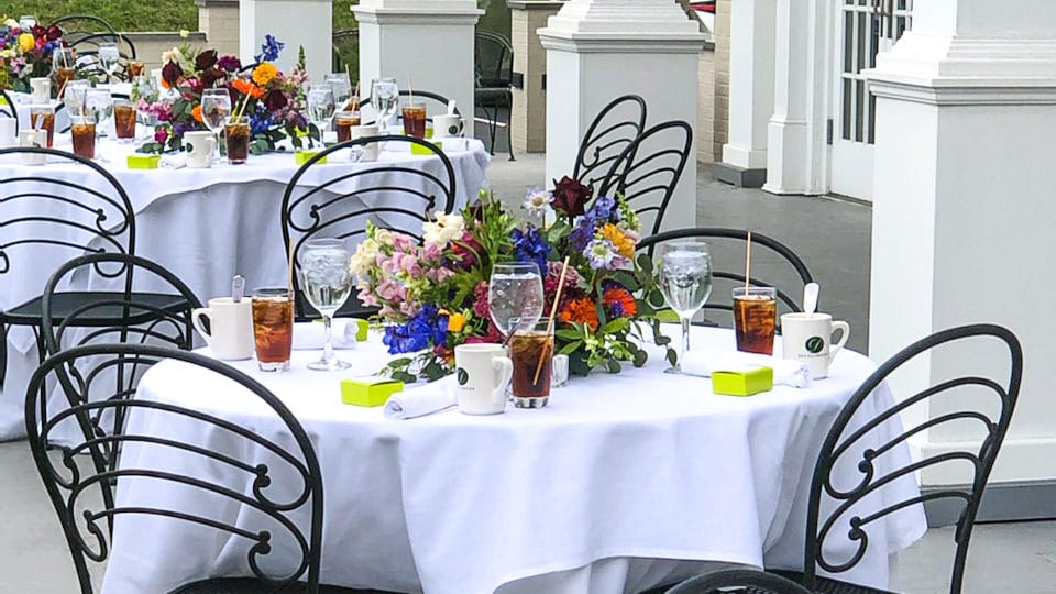 Outdoor seating on the Mansion Patio