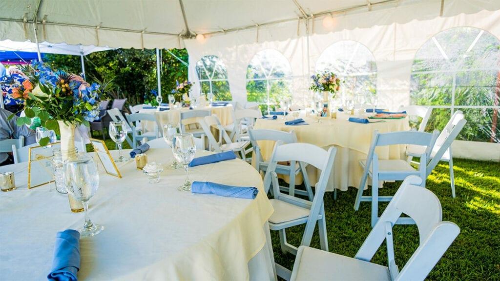 Outdoor, off-premise wedding set up under a tent