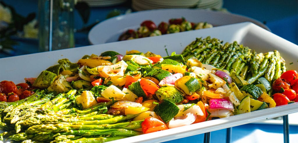 Roasted Spring Vegetables presented buffet style