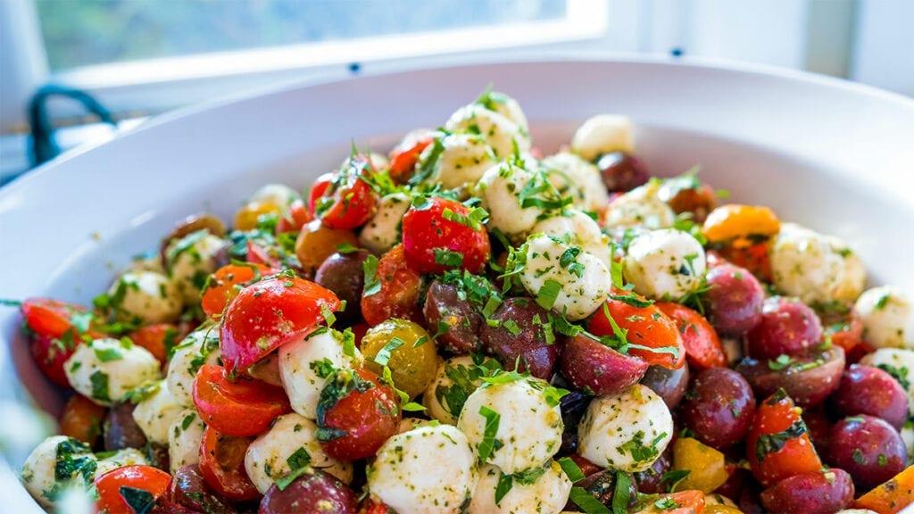 vibrant Tomatoes and mozzarella balls combined to make salad